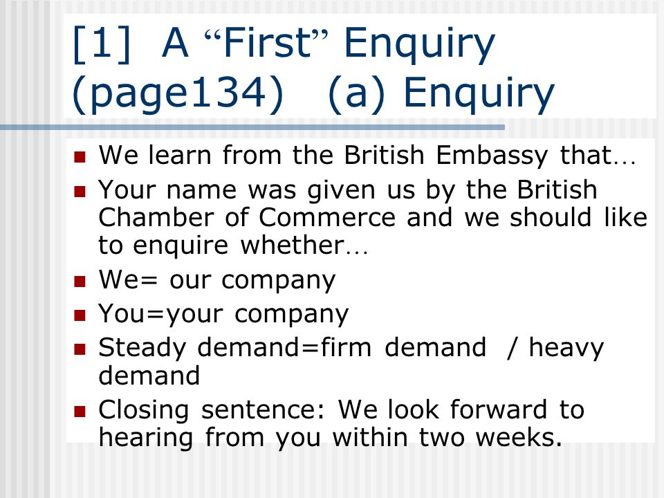 [1] A First Enquiry (page134) (a) Enquiry